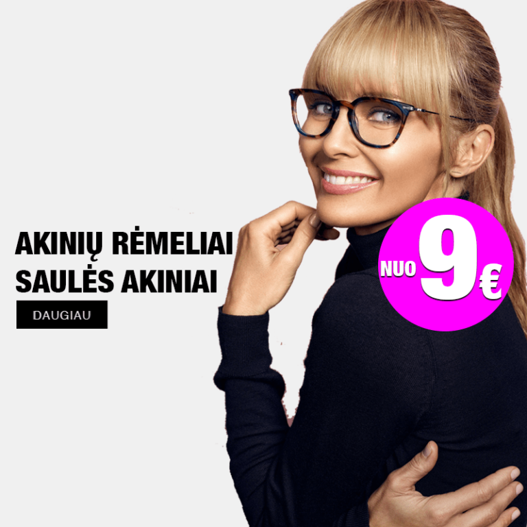 akiniu rėmelių ir saulės akinių nuo 9€ reklama