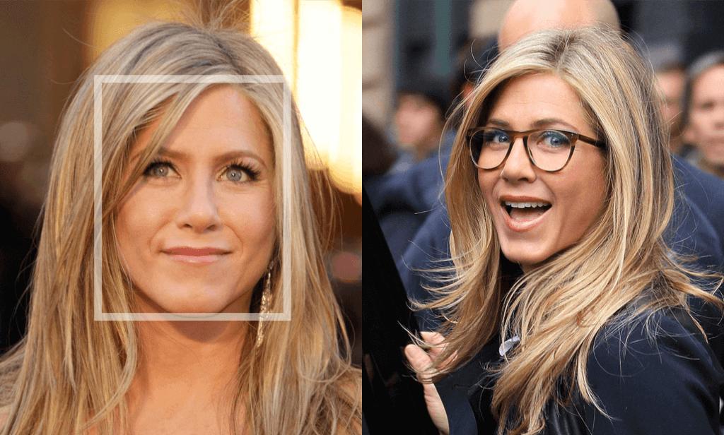 Kairėje moteris su apibraukta veido forma, dešinėje laiminga moteris su jai tinkančiais akiniais