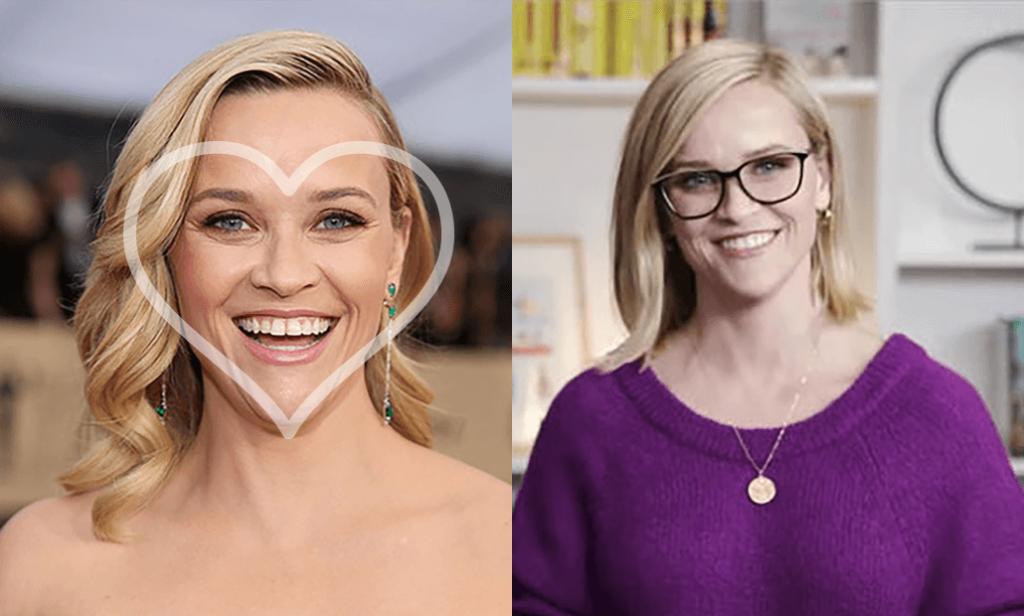 Kairėje moteris su apibraukta veido forma,  dešinėje - laiminga moteris su akiniais