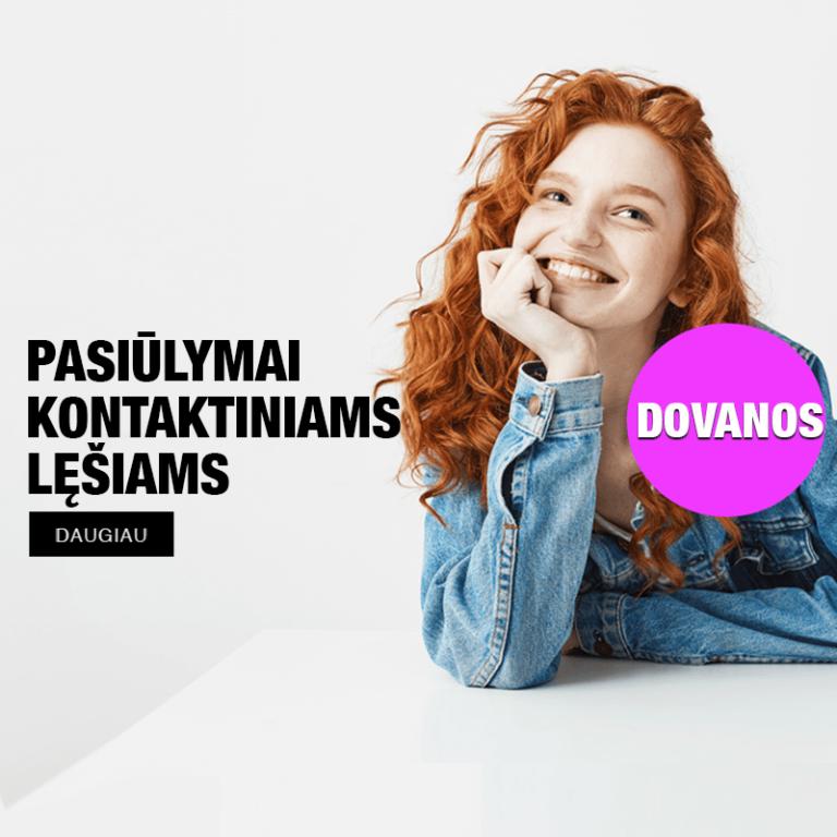 kontaktinių lęšių reklama moteirs su garbanotais klausais