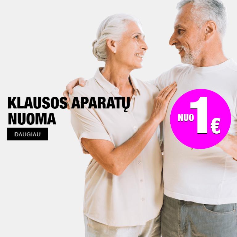 klausos aparatų reklama, apsikabinusi ir besišypsanti vyresnio amžiaus pora
