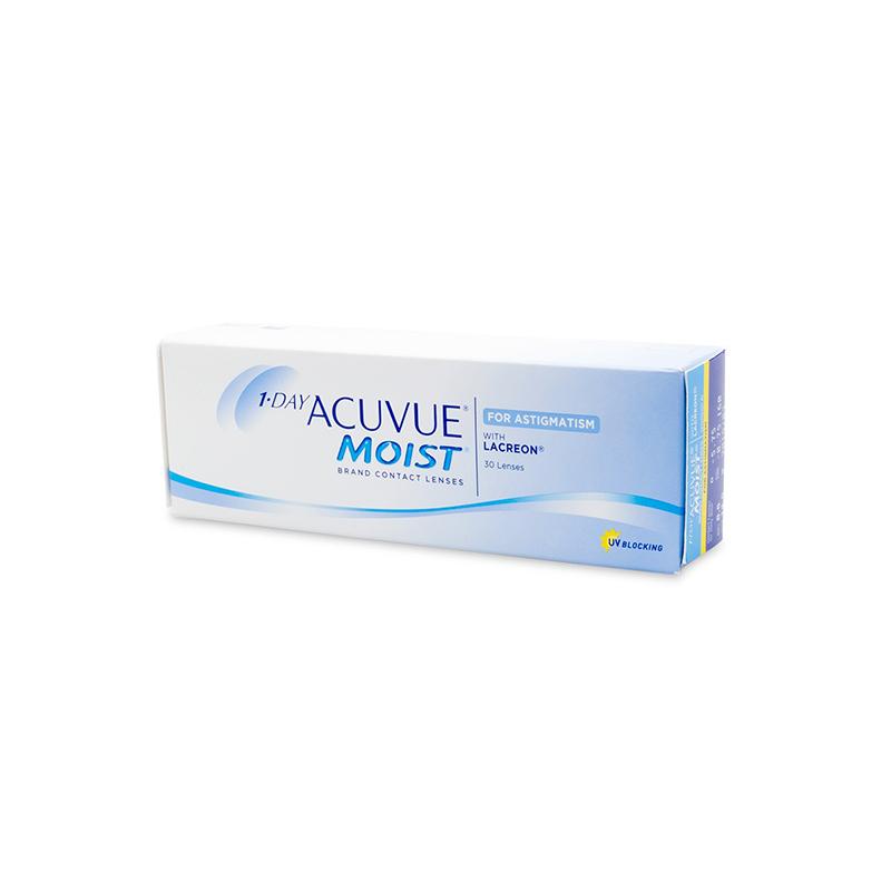 """akuotė astigmatinių kontaktinių lęšių """"1-day acuvue moist"""""""